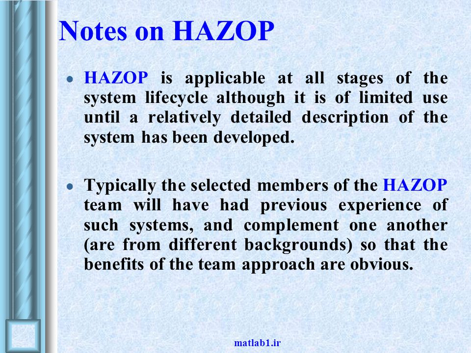 Notes on HAZOP