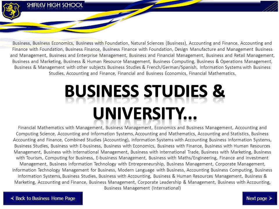 Business Studies & University...