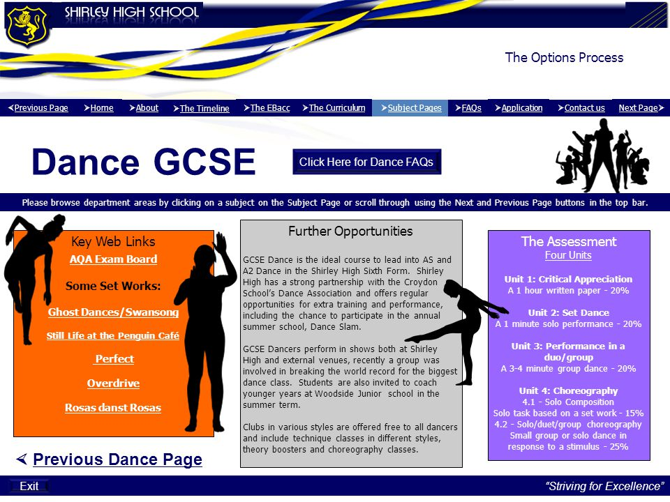 Dance GCSE  Previous Dance Page The Options Process