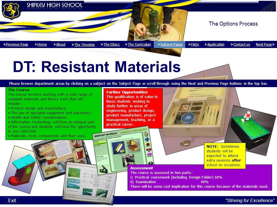 DT: Resistant Materials