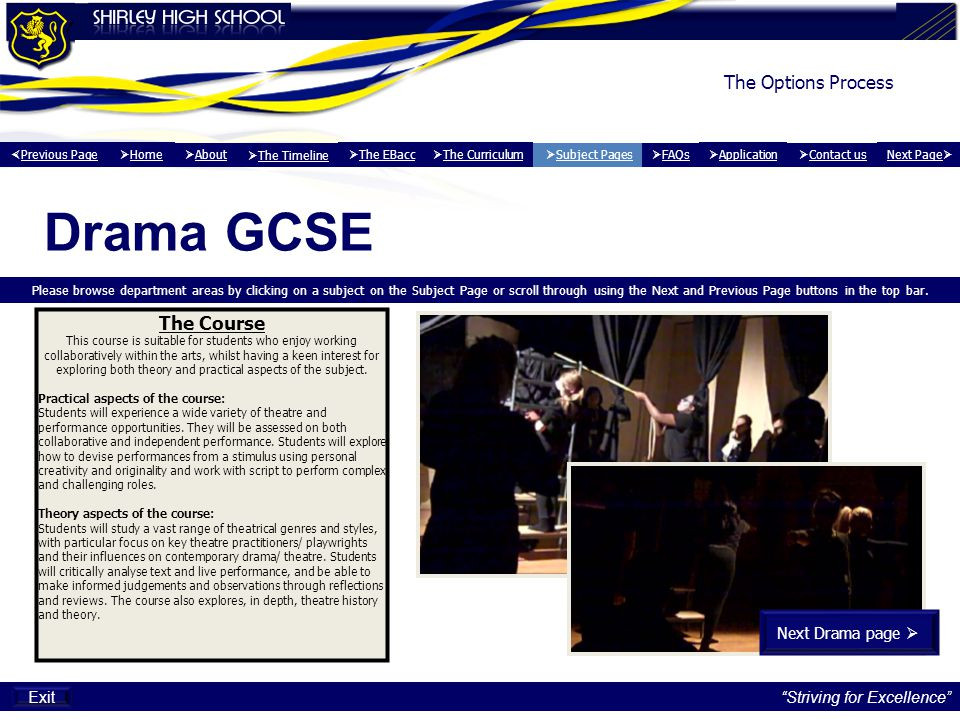 Drama GCSE The Options Process The Course Next Drama page  Exit
