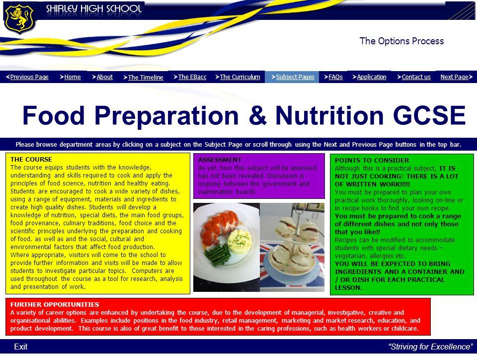 Food Preparation & Nutrition GCSE