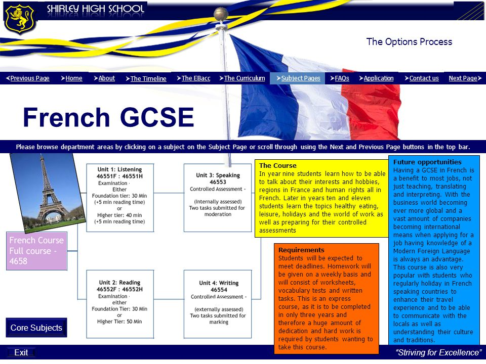 French GCSE The Options Process Core Subjects