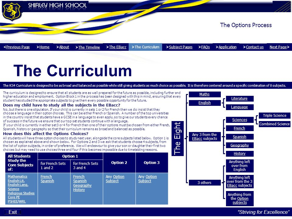 The Curriculum The Options Process Exit Striving for Excellence