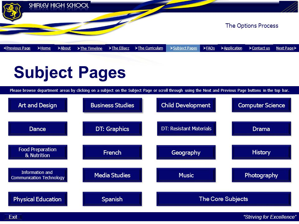 Subject Pages The Options Process Art and Design Business Studies