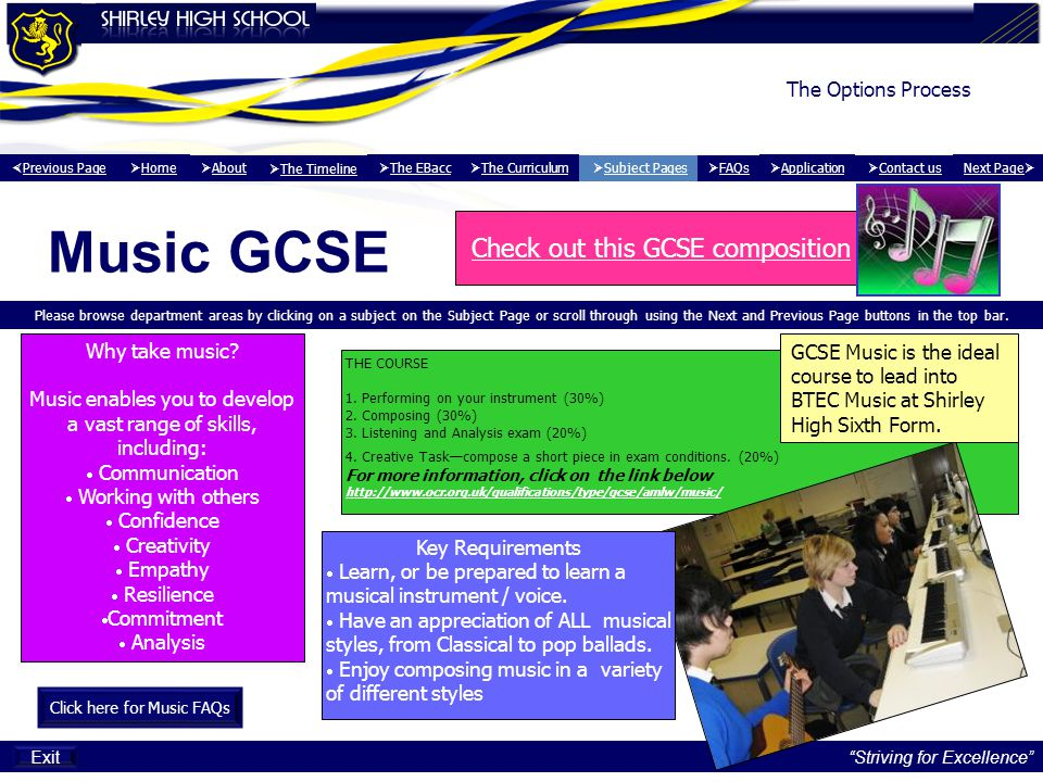 Music GCSE Check out this GCSE composition The Options Process