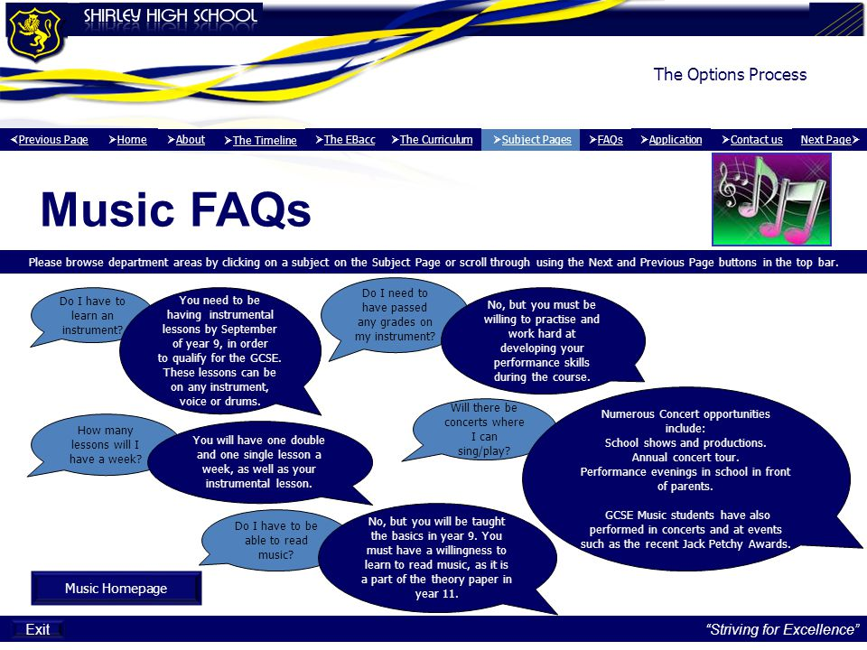 Music FAQs The Options Process Exit Striving for Excellence