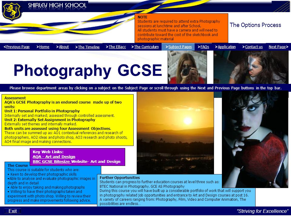 Photography GCSE The Options Process Exit Striving for Excellence
