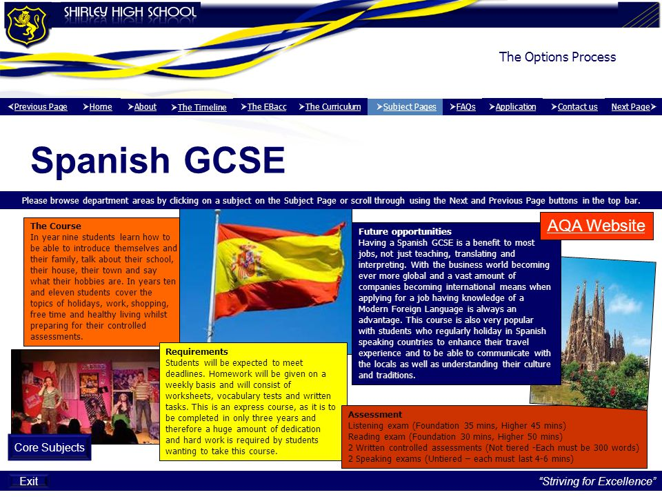 Spanish GCSE AQA Website The Options Process Core Subjects Exit