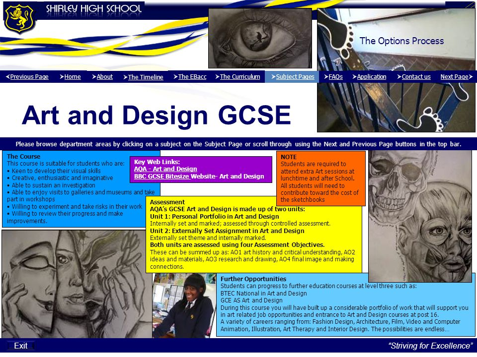 Art and Design GCSE The Options Process Exit Striving for Excellence