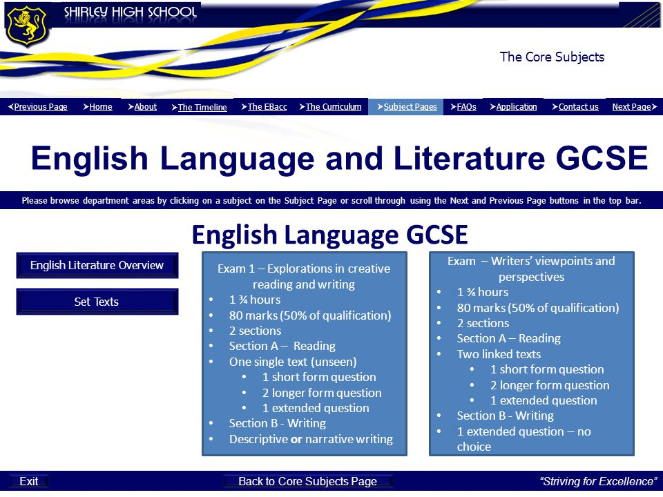 English Language and Literature GCSE