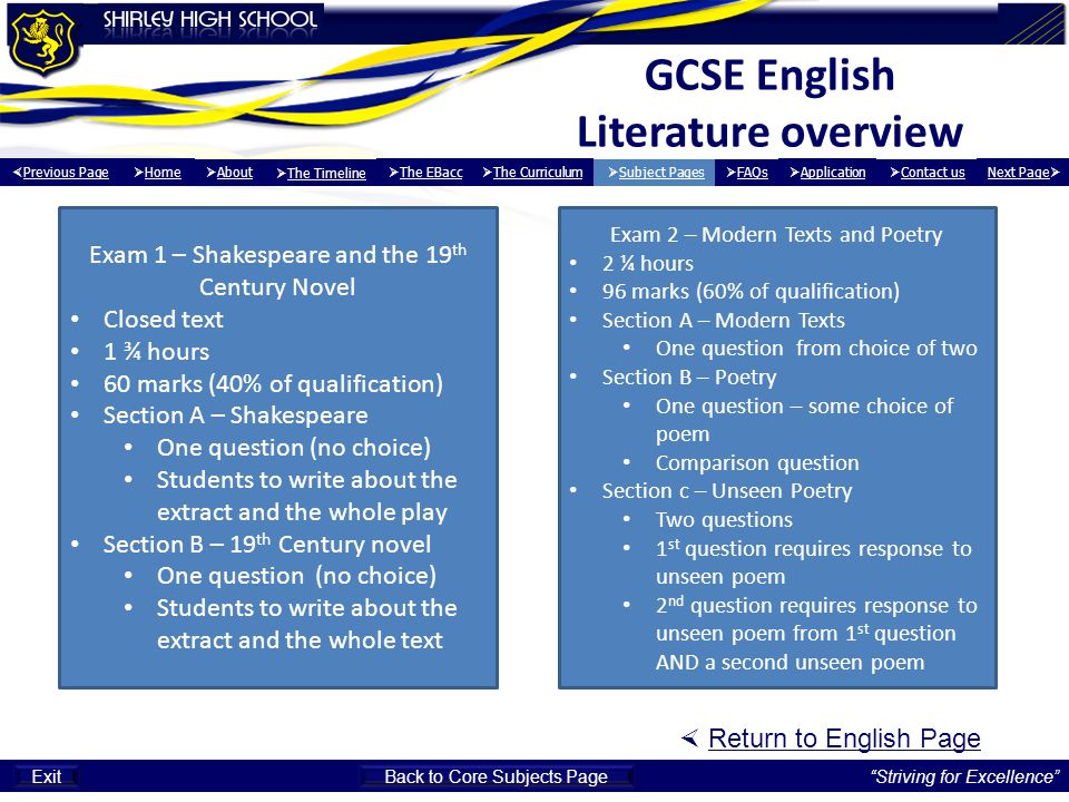 GCSE English Literature overview