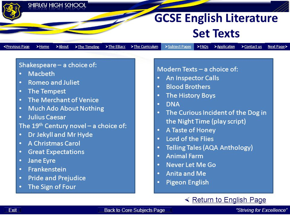 GCSE English Literature Set Texts