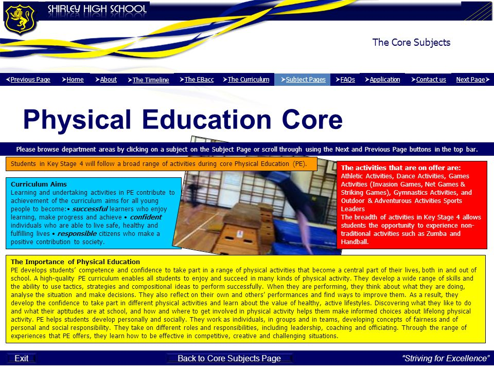 Back to Core Subjects Page