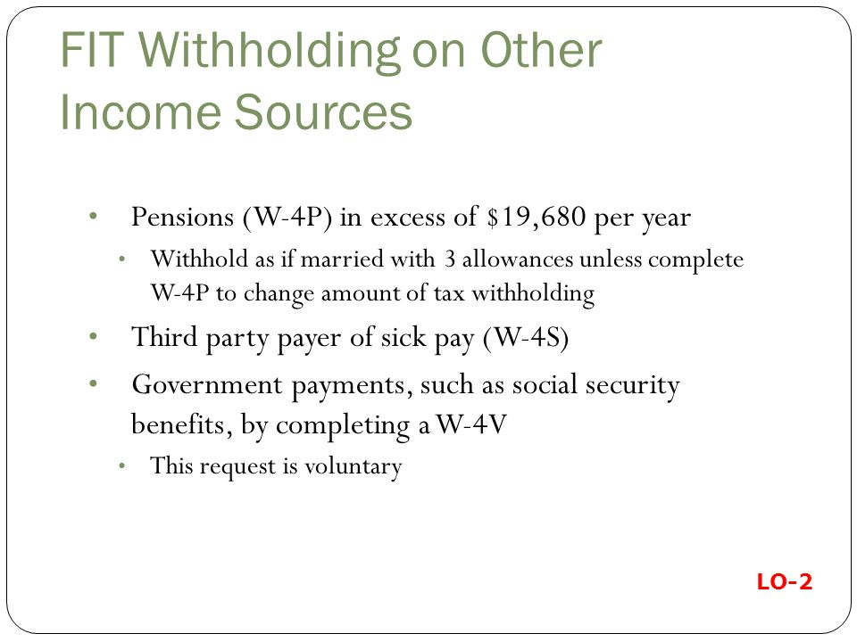 FIT Withholding on Other Income Sources