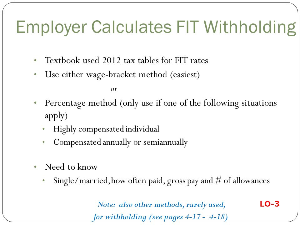 Employer Calculates FIT Withholding