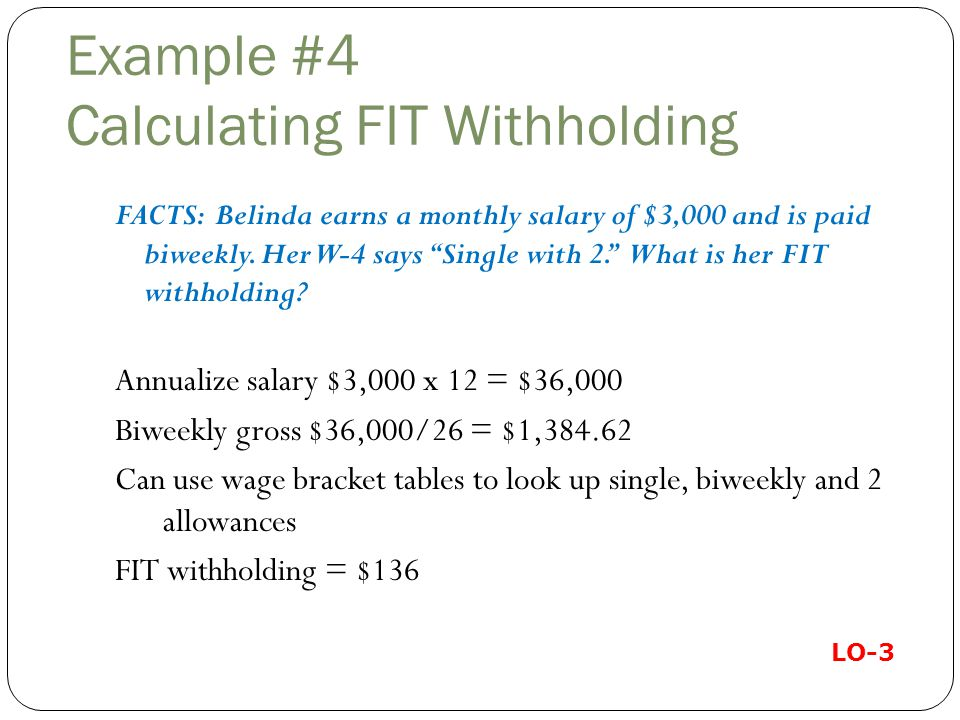 Example #4 Calculating FIT Withholding