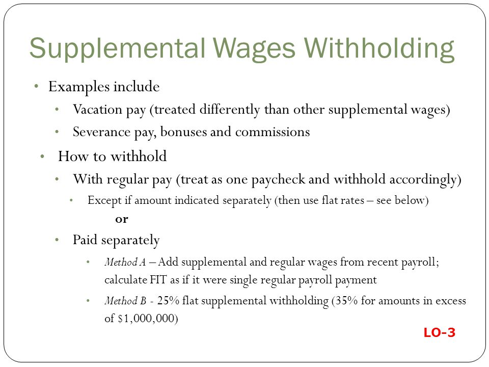 Supplemental Wages Withholding
