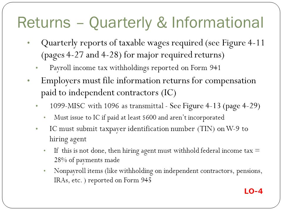 Returns – Quarterly & Informational