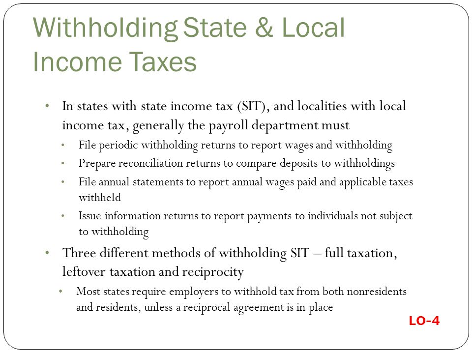 Withholding State & Local Income Taxes