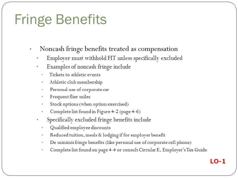 Fringe Benefits Noncash fringe benefits treated as compensation. Employer must withhold FIT unless specifically excluded.