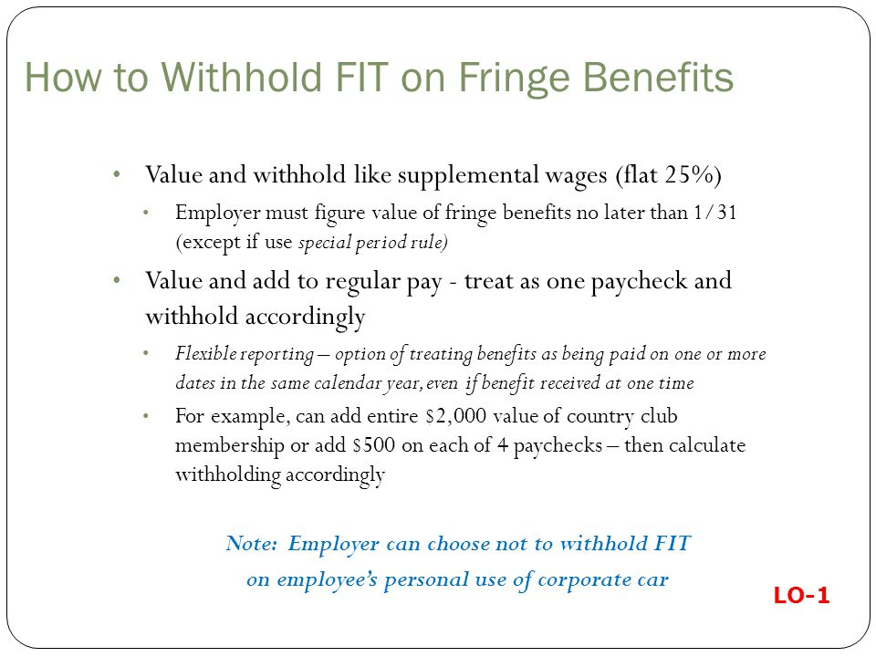 How to Withhold FIT on Fringe Benefits