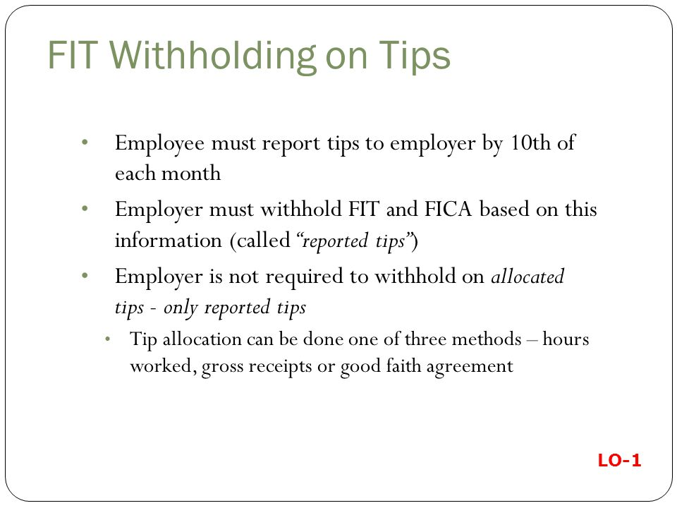 FIT Withholding on Tips