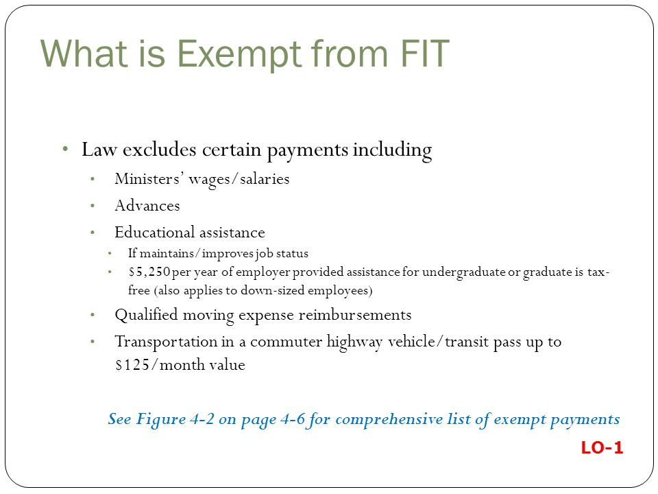 What is Exempt from FIT Law excludes certain payments including