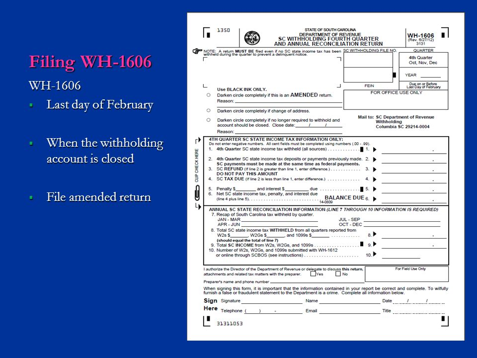 Filing WH-1606 WH-1606 Last day of February