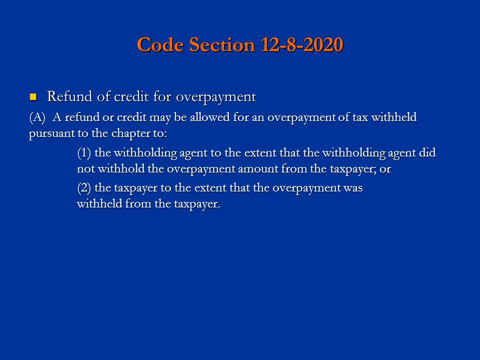 Code Section 12-8-2020 Refund of credit for overpayment