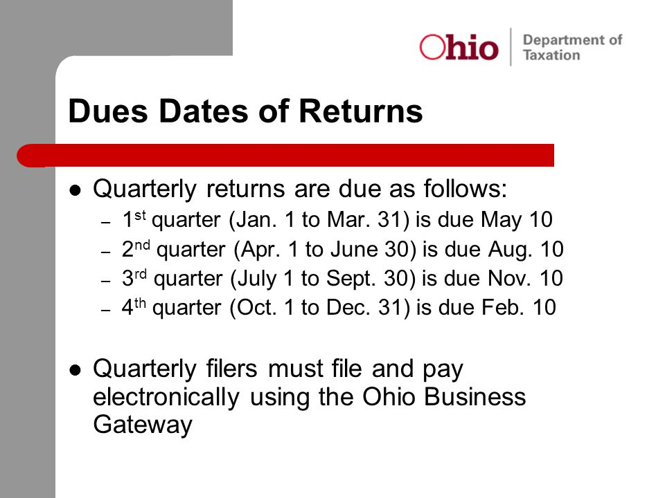 Dues Dates of Returns Quarterly returns are due as follows: