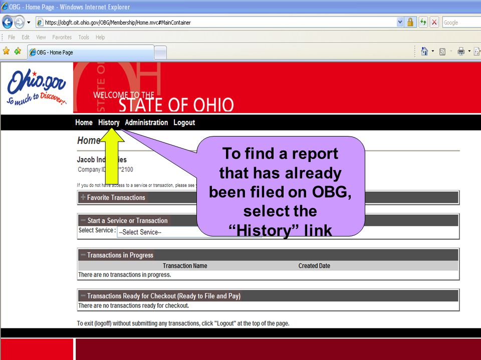 To find a report that has already been filed on OBG, select the History link