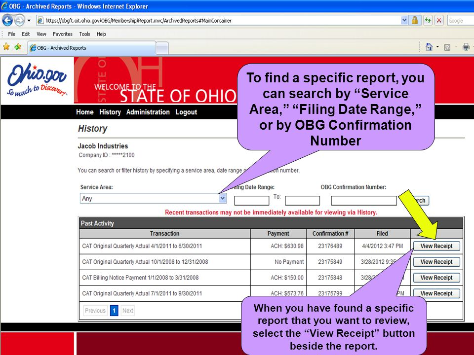 To find a specific report, you can search by Service Area, Filing Date Range, or by OBG Confirmation Number