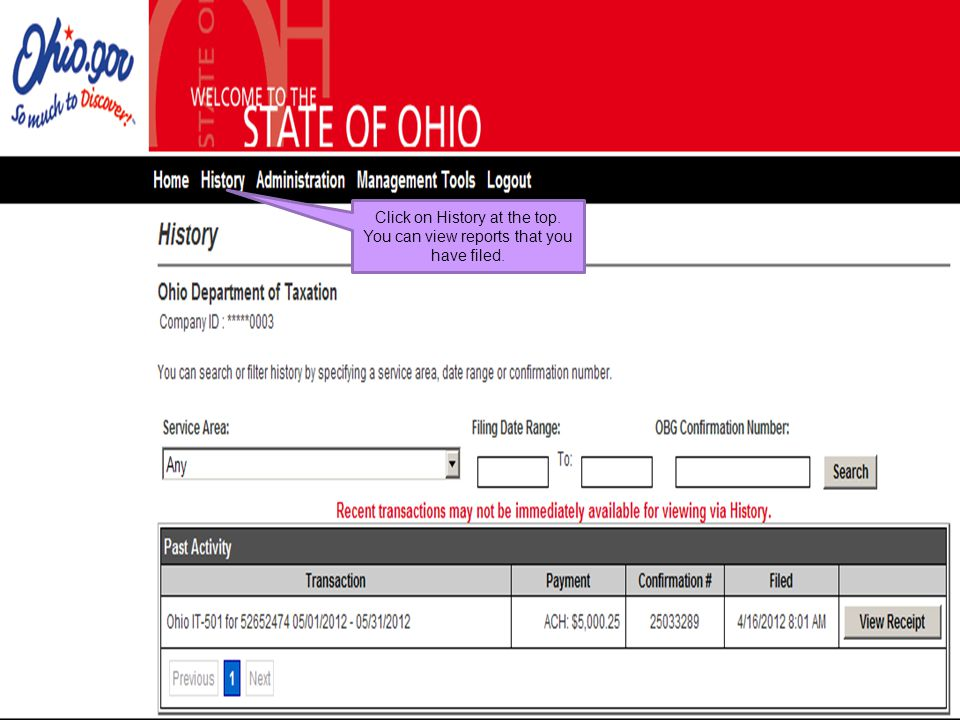Click on History at the top. You can view reports that you have filed.