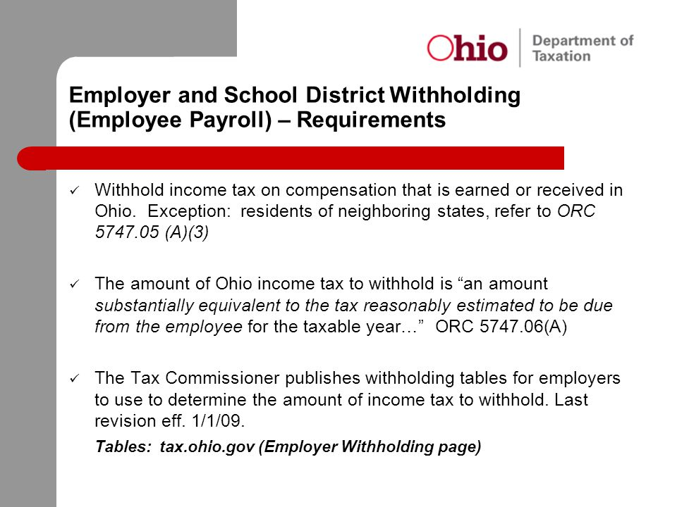 Employer and School District Withholding (Employee Payroll) – Requirements