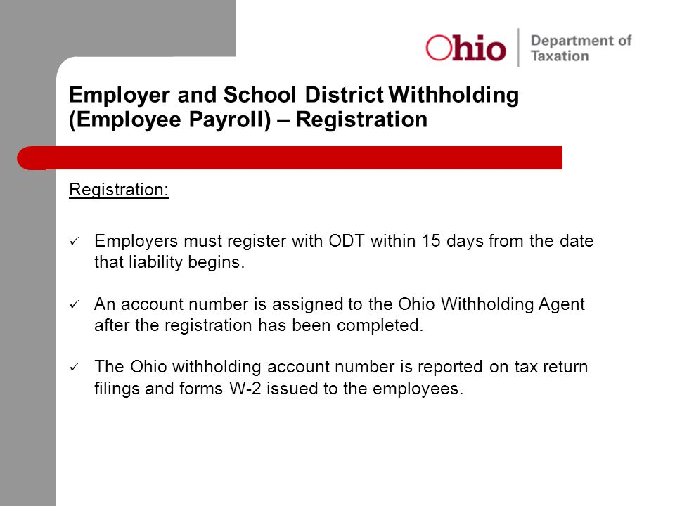 Employer and School District Withholding (Employee Payroll) – Registration