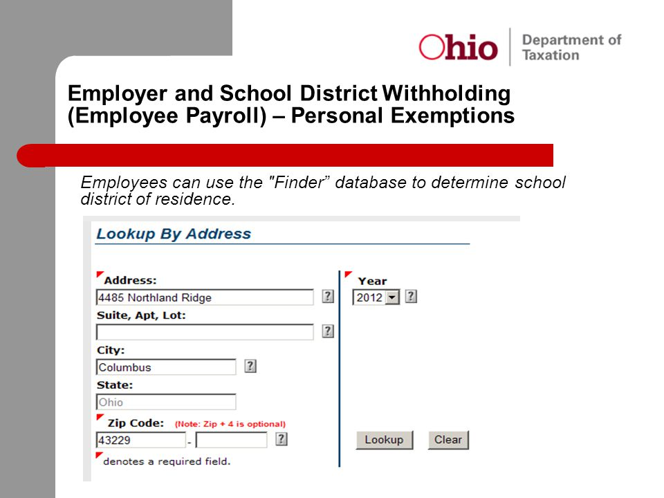 Employer and School District Withholding (Employee Payroll) – Personal Exemptions
