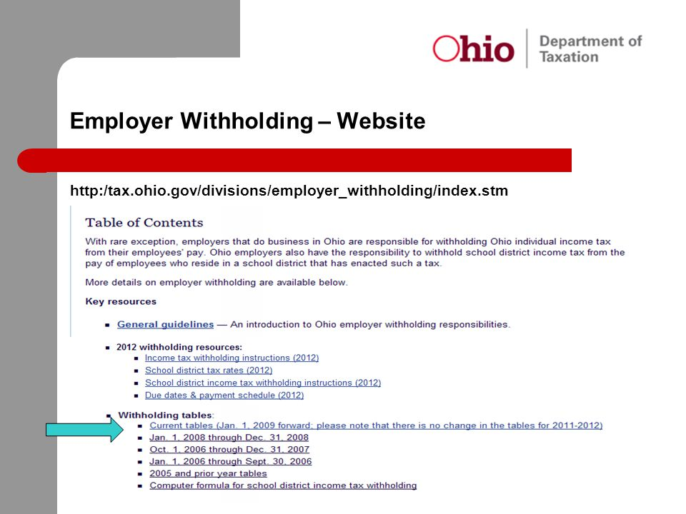 Employer Withholding – Website