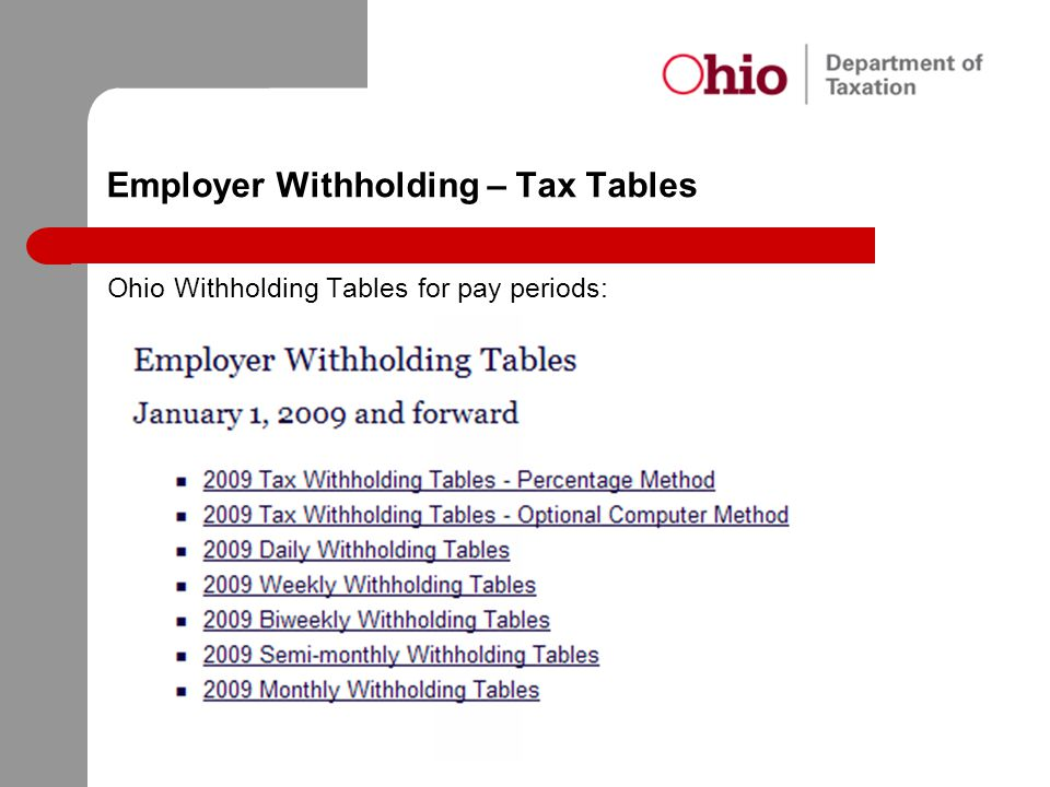Employer Withholding – Tax Tables