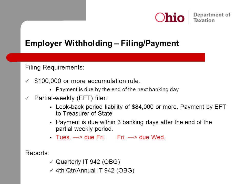 Employer Withholding – Filing/Payment