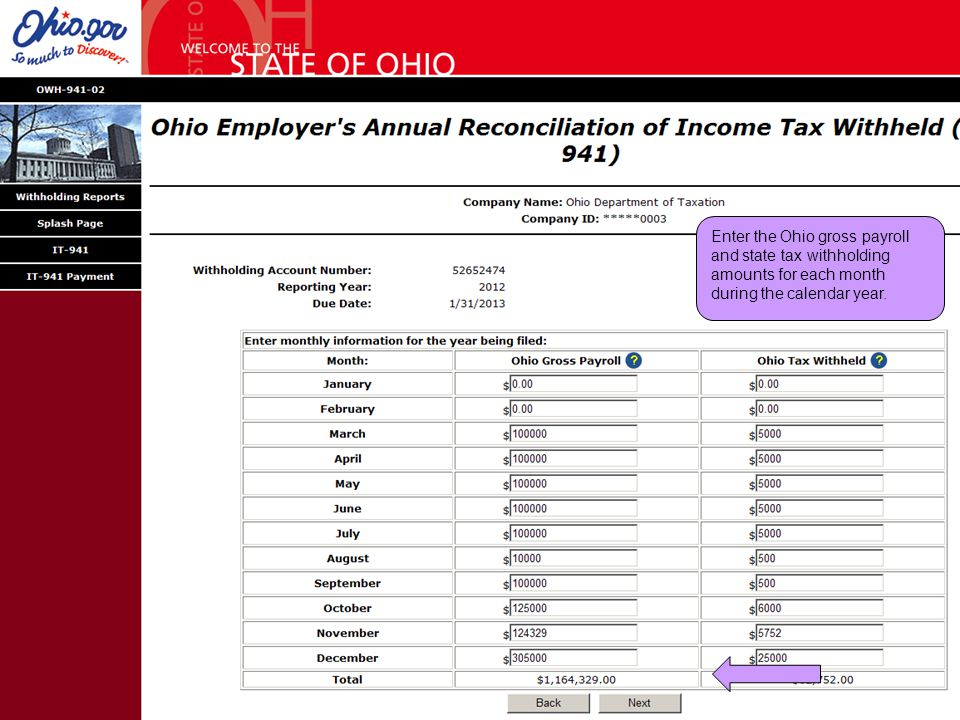 Enter the Ohio gross payroll and state tax withholding amounts for each month during the calendar year.