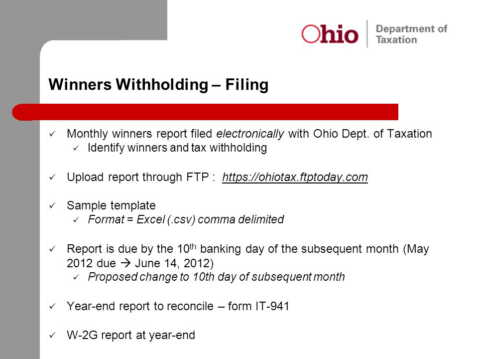 Winners Withholding – Filing