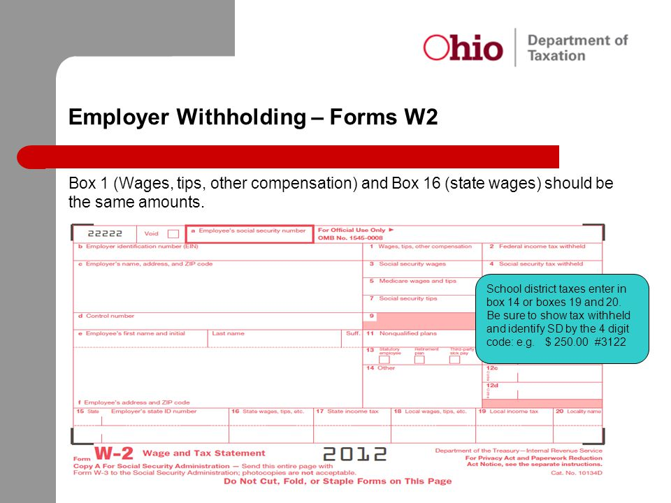 Employer Withholding – Forms W2