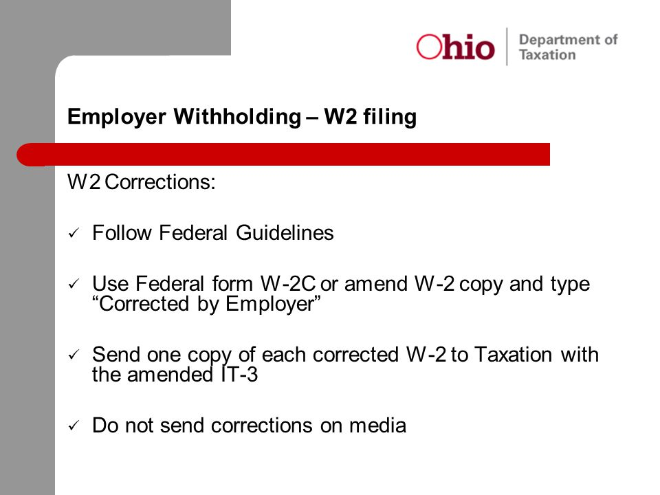 Employer Withholding – W2 filing