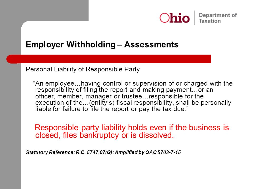 Employer Withholding – Assessments