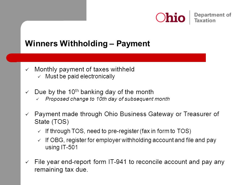 Winners Withholding – Payment