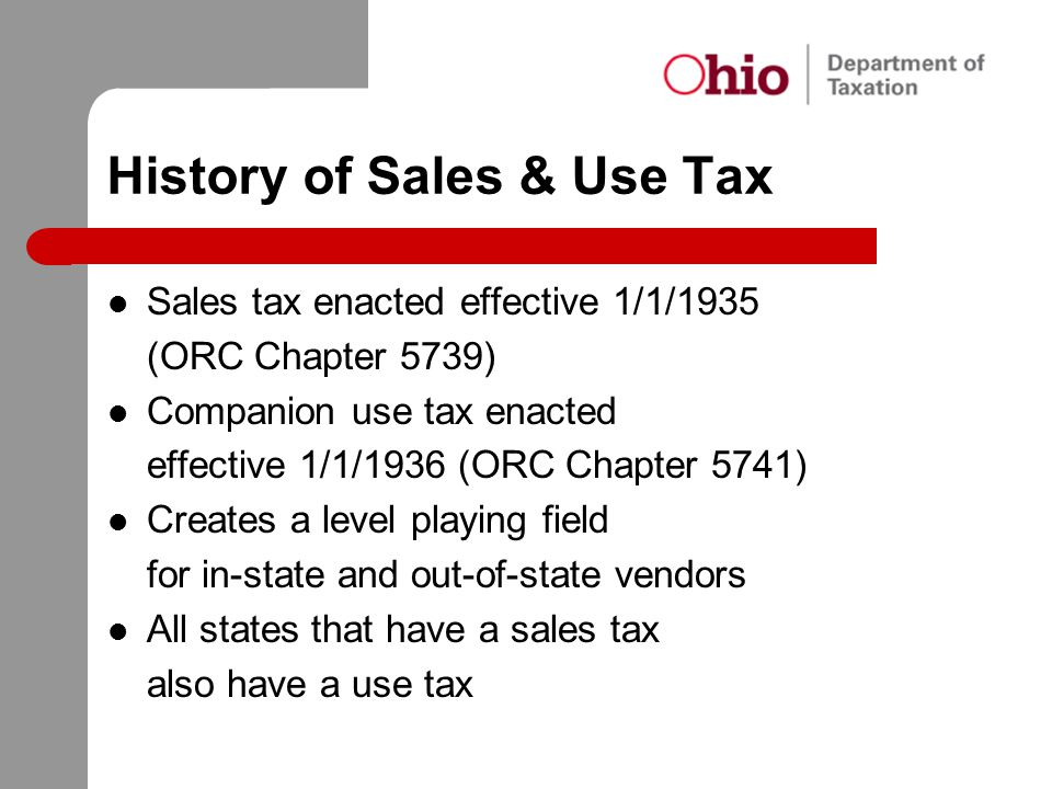 History of Sales & Use Tax
