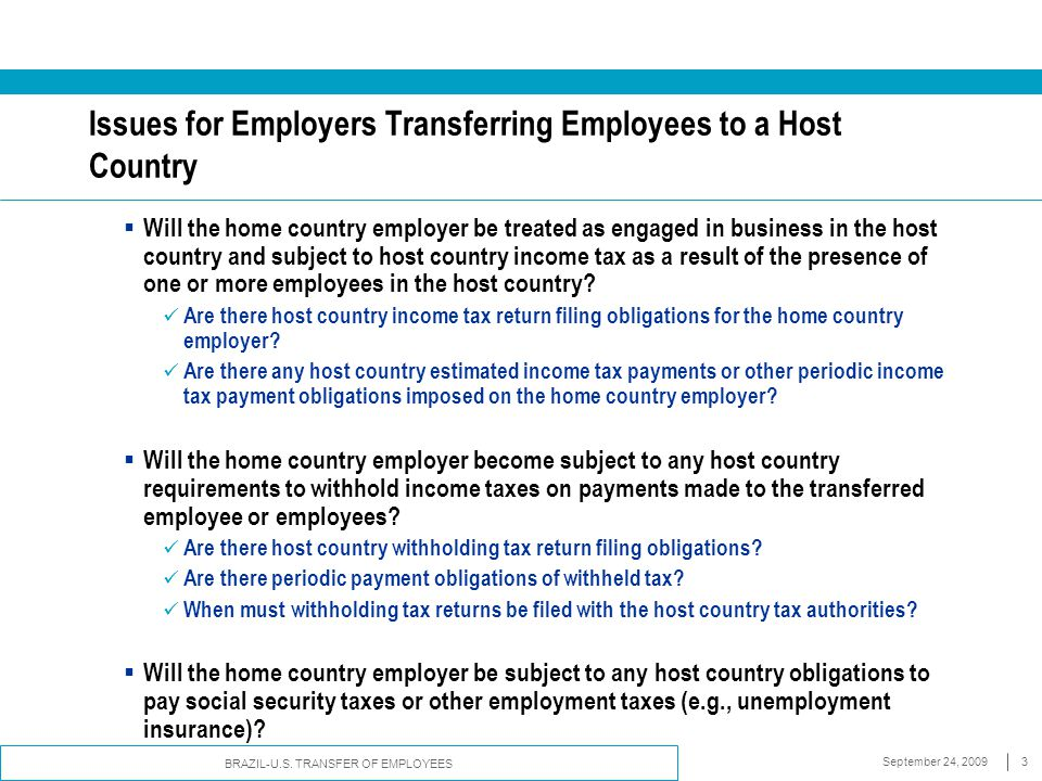 Issues for Employers Transferring Employees to a Host Country
