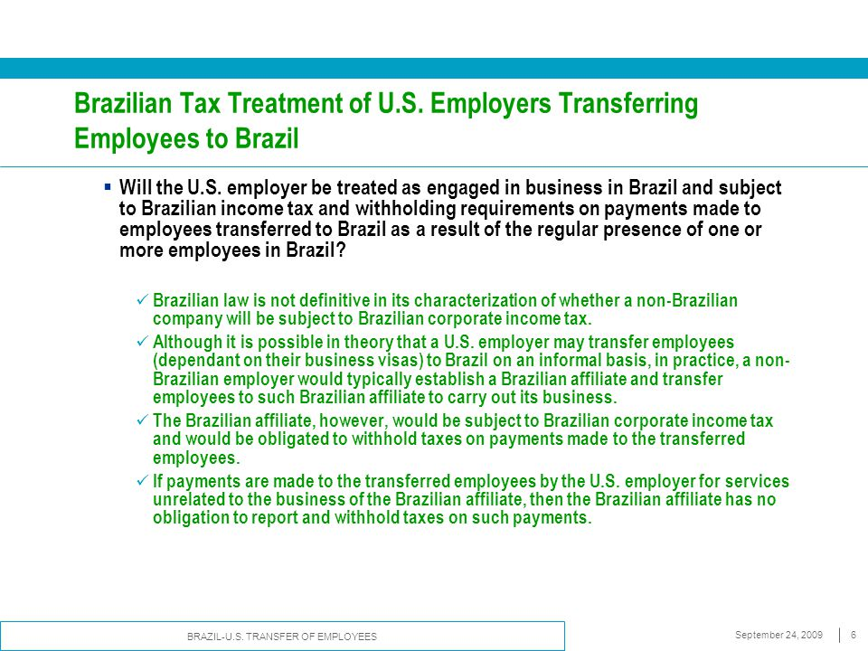 BRAZIL-U.S. TRANSFER OF EMPLOYEES