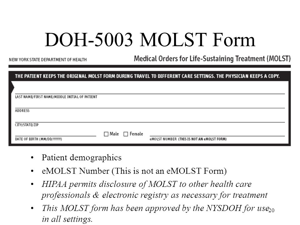 DOH-5003 MOLST Form Patient demographics